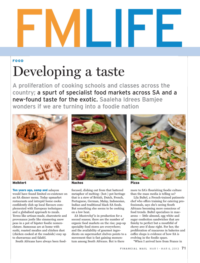 Feature Writing: SA Foodieism for Financial Mail